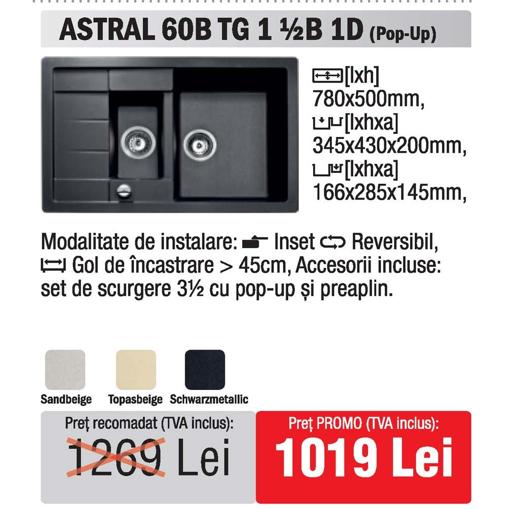 chiuveta Teka Astral 60B TG 1 1/2B 1D granit - oferta