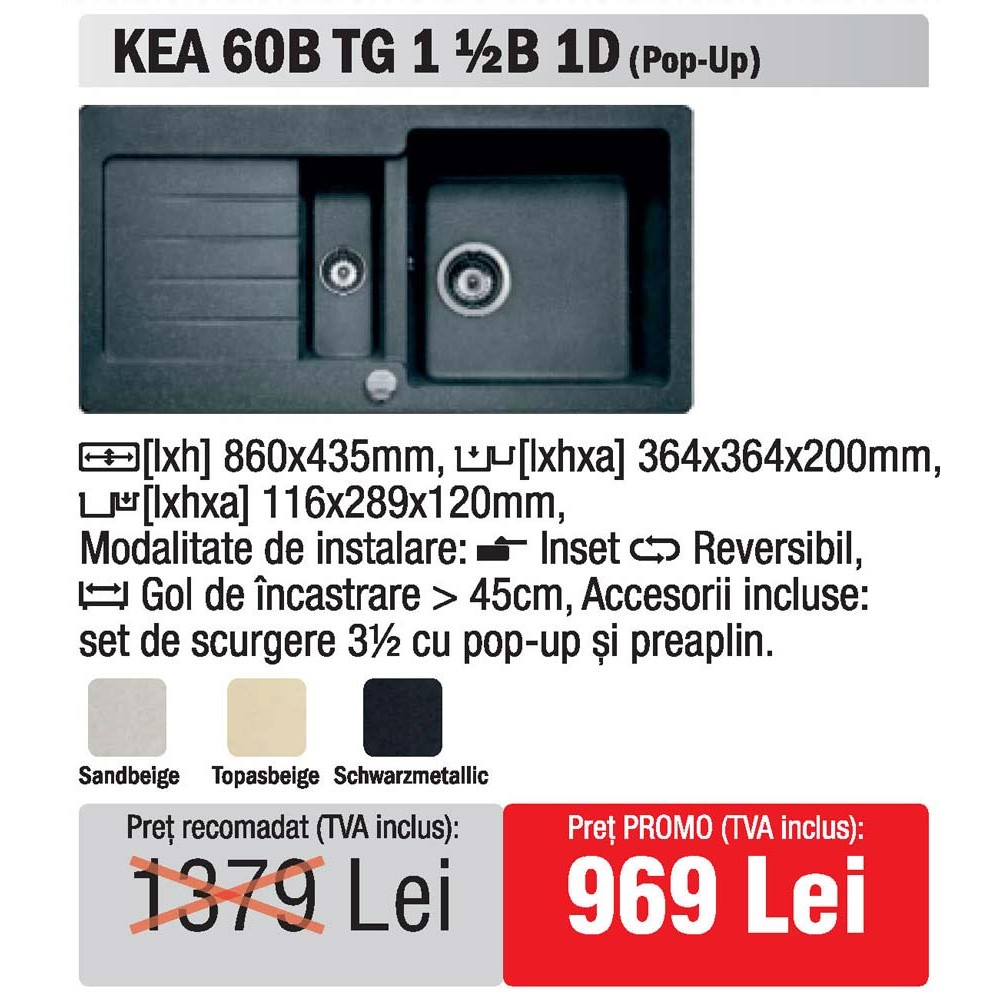 Teka Kitchen Appliances: Kitchen Sink Teka Kea 60B TG 1 1/2B 1D